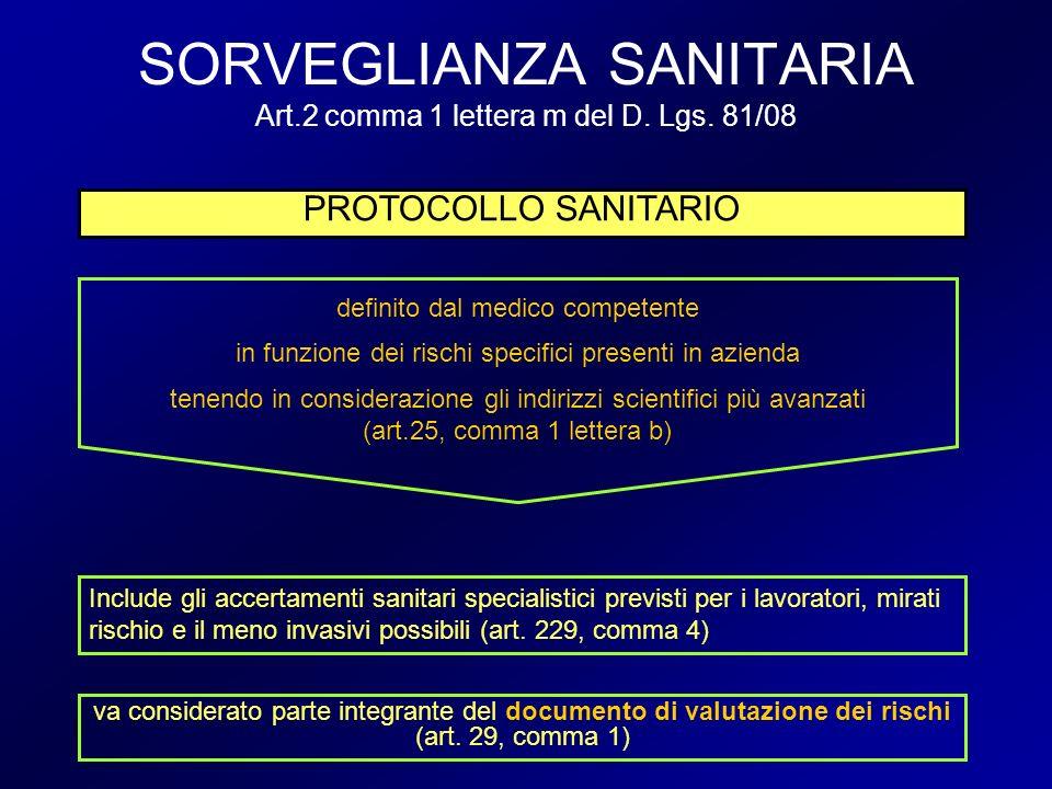 SORVEGLIANZA SANITARIA Art.2 comma 1 lettera m del D. Lgs. 81/08 PROTOCOLLO SANITARIO va considerato parte integrante del documento di valutazione dei