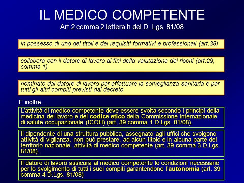 IL MEDICO COMPETENTE Art.2 comma 2 lettera h del D. Lgs. 81/08 in possesso di uno dei titoli e dei requisiti formativi e professionali (art.38) collab