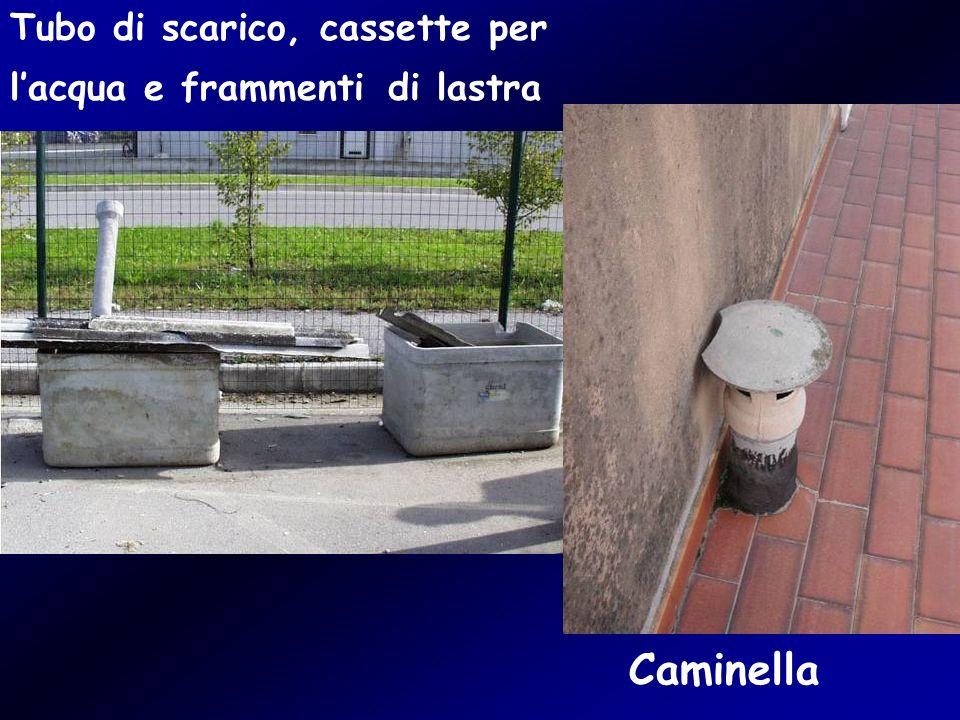 Tubo di scarico, cassette per lacqua e frammenti di lastra Caminella