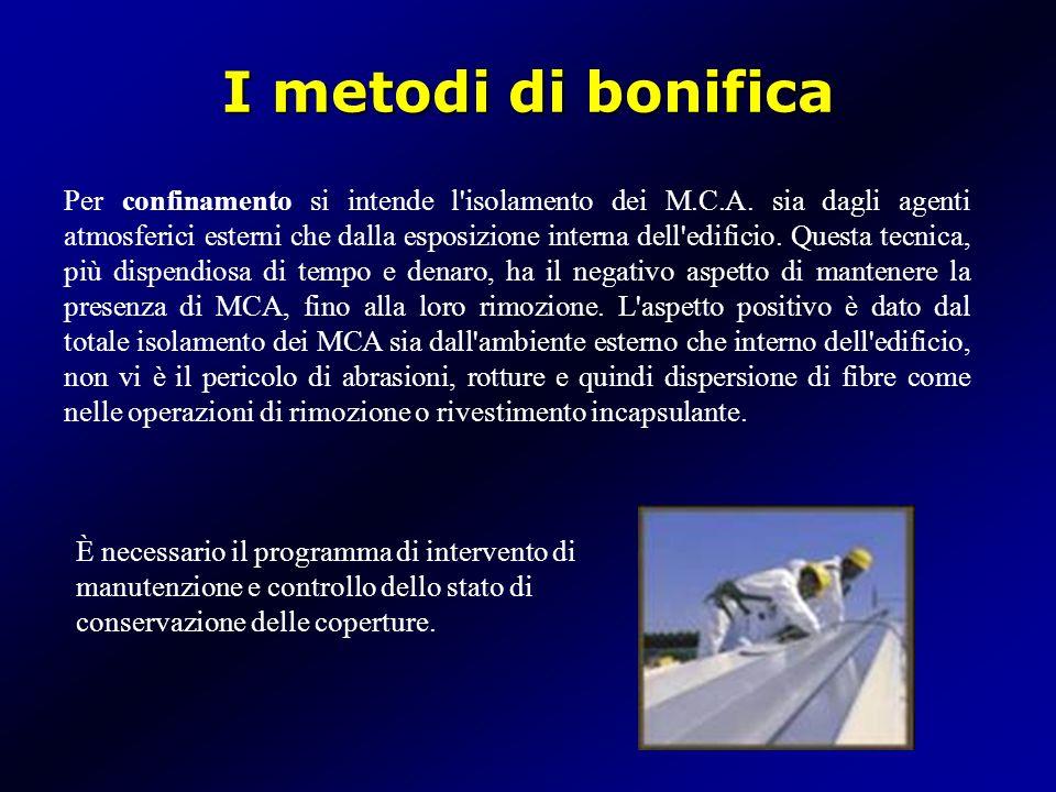 I metodi di bonifica Per confinamento si intende l'isolamento dei M.C.A. sia dagli agenti atmosferici esterni che dalla esposizione interna dell'edifi