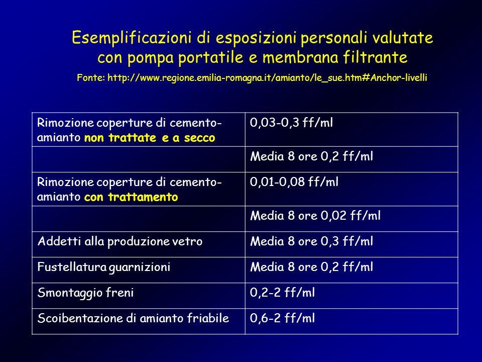 Esemplificazioni di esposizioni personali valutate con pompa portatile e membrana filtrante Fonte: http://www.regione.emilia-romagna.it/amianto/le_sue