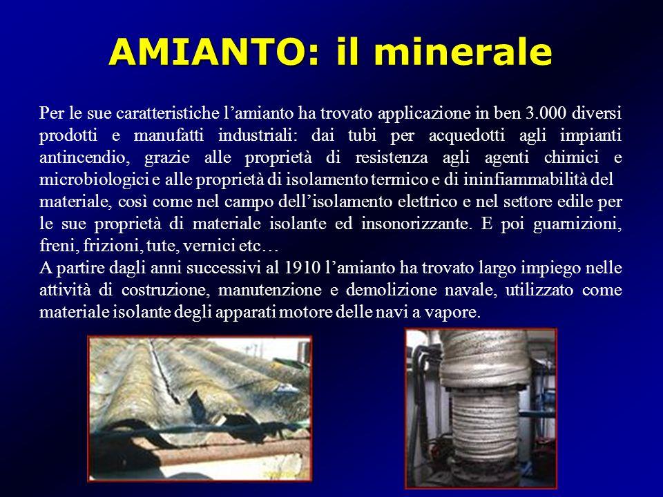 AMIANTO: in Italia In Italia fino al 1990 è stata attiva a Balangero (Piemonte) una cava per lestrazione di amianto che con le sue 150.000 tonnellate/anno rappresentava la più grande miniera in attività nellEuropa occidentale.