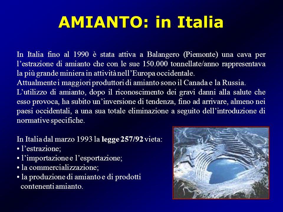AMIANTO: in Italia In Italia fino al 1990 è stata attiva a Balangero (Piemonte) una cava per lestrazione di amianto che con le sue 150.000 tonnellate/