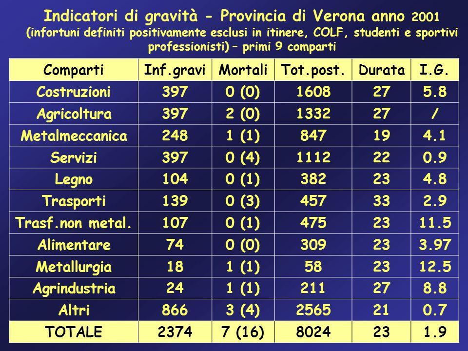 Indicatori di gravità - Provincia di Verona anno 2001 (infortuni definiti positivamente esclusi in itinere, COLF, studenti e sportivi professionisti)