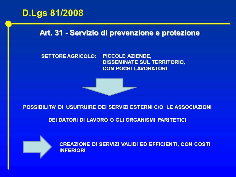 Art. 31 - Servizio di prevenzione e protezione POSSIBILITA DI USUFRUIRE DEI SERVIZI ESTERNI C/O LE ASSOCIAZIONI DEI DATORI DI LAVORO O GLI ORGANISMI P