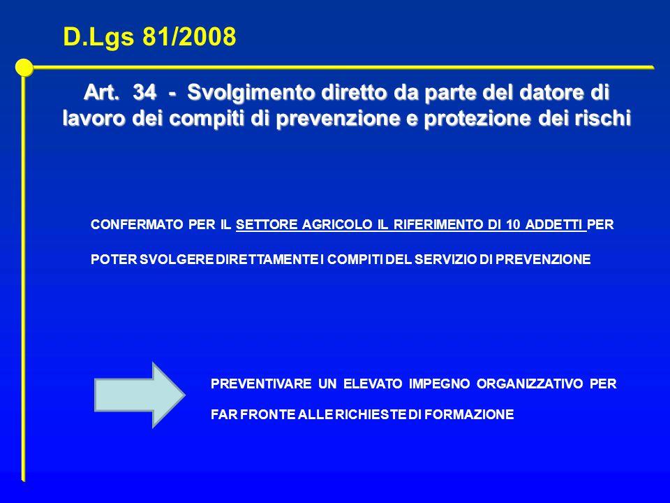 Art. 34 - Svolgimento diretto da parte del datore di lavoro dei compiti di prevenzione e protezione dei rischi CONFERMATO PER IL SETTORE AGRICOLO IL R