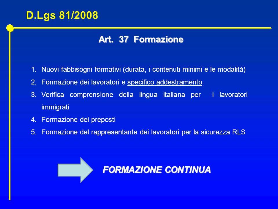 Art. 37 Formazione 1.Nuovi fabbisogni formativi (durata, i contenuti minimi e le modalità) 2.Formazione dei lavoratori e specifico addestramento 3.Ver