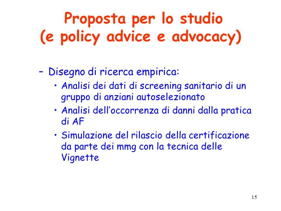 15 Proposta per lo studio (e policy advice e advocacy) –Disegno di ricerca empirica: Analisi dei dati di screening sanitario di un gruppo di anziani a