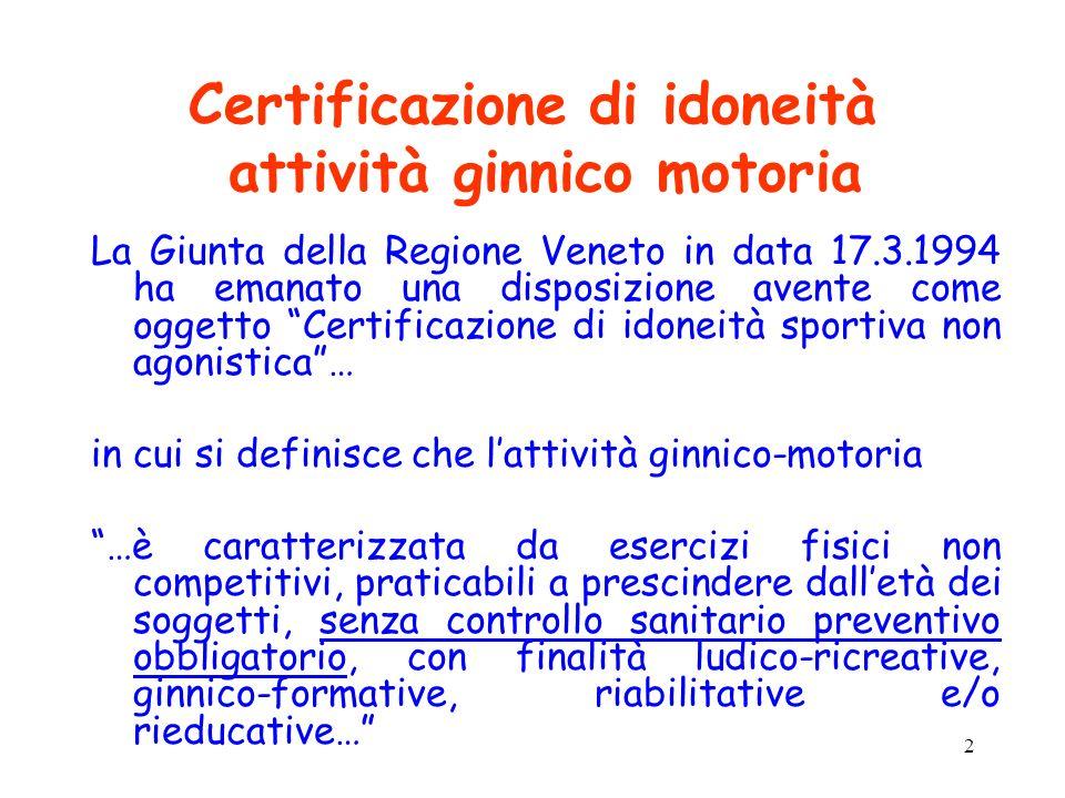 2 Certificazione di idoneità attività ginnico motoria La Giunta della Regione Veneto in data 17.3.1994 ha emanato una disposizione avente come oggetto