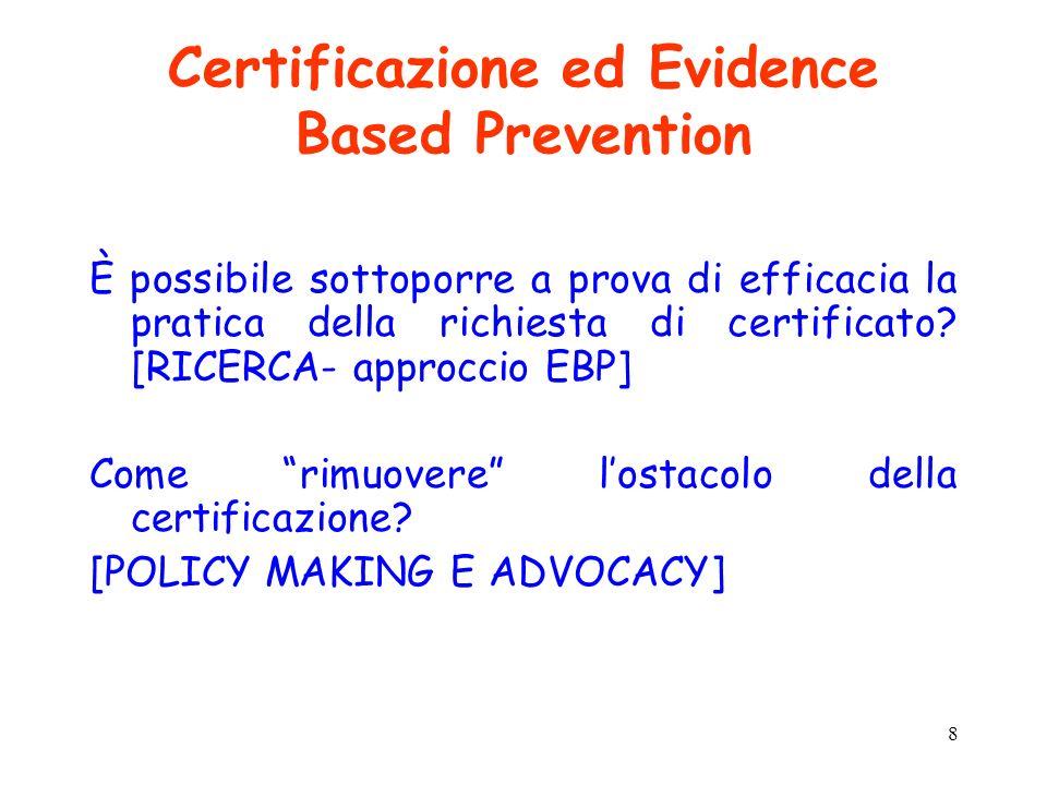 8 Certificazione ed Evidence Based Prevention È possibile sottoporre a prova di efficacia la pratica della richiesta di certificato? [RICERCA- approcc
