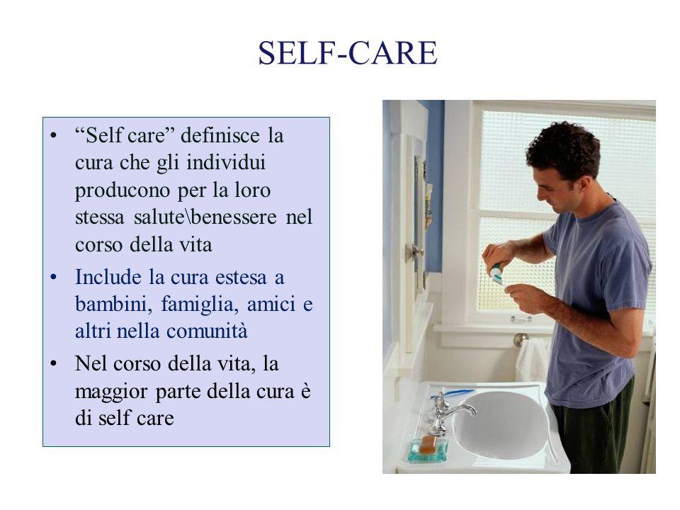 SELF-CARE Self care definisce la cura che gli individui producono per la loro stessa salute\benessere nel corso della vita Include la cura estesa a ba