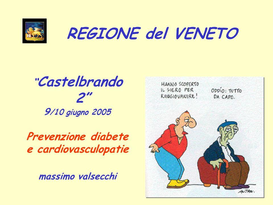 Castelbrando 2 9 /10 giugno 2005 Prevenzione diabete e cardiovasculopatie massimo valsecchi REGIONE del VENETO