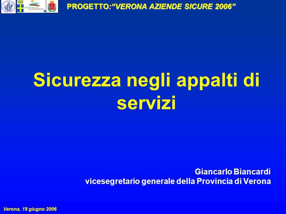 PROGETTO:VERONA AZIENDE SICURE 2006 Verona, 19 giugno 2006 Sicurezza negli appalti di servizi Giancarlo Biancardi vicesegretario generale della Provin