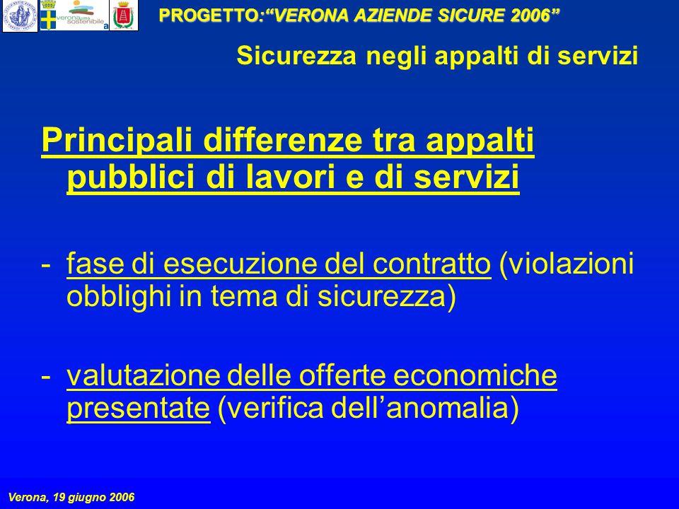 PROGETTO:VERONA AZIENDE SICURE 2006 Verona, 19 giugno 2006 Sicurezza negli appalti di servizi Principali differenze tra appalti pubblici di lavori e d