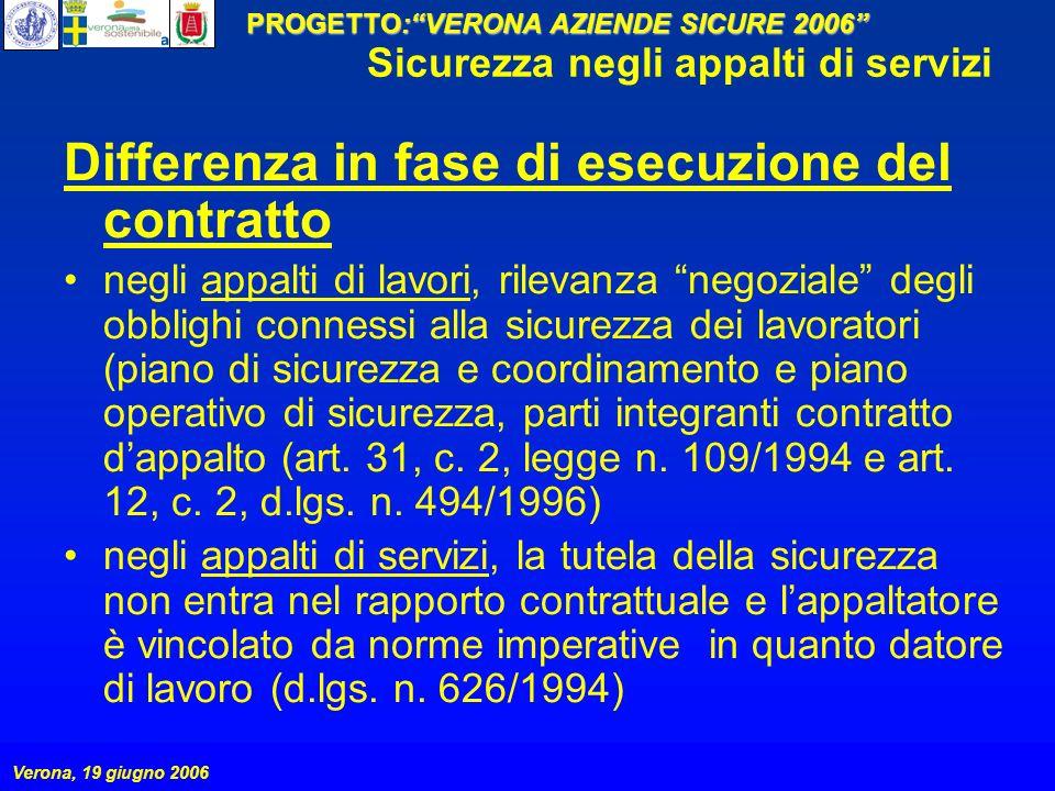PROGETTO:VERONA AZIENDE SICURE 2006 Verona, 19 giugno 2006 Sicurezza negli appalti di servizi Differenza in fase di esecuzione del contratto negli app