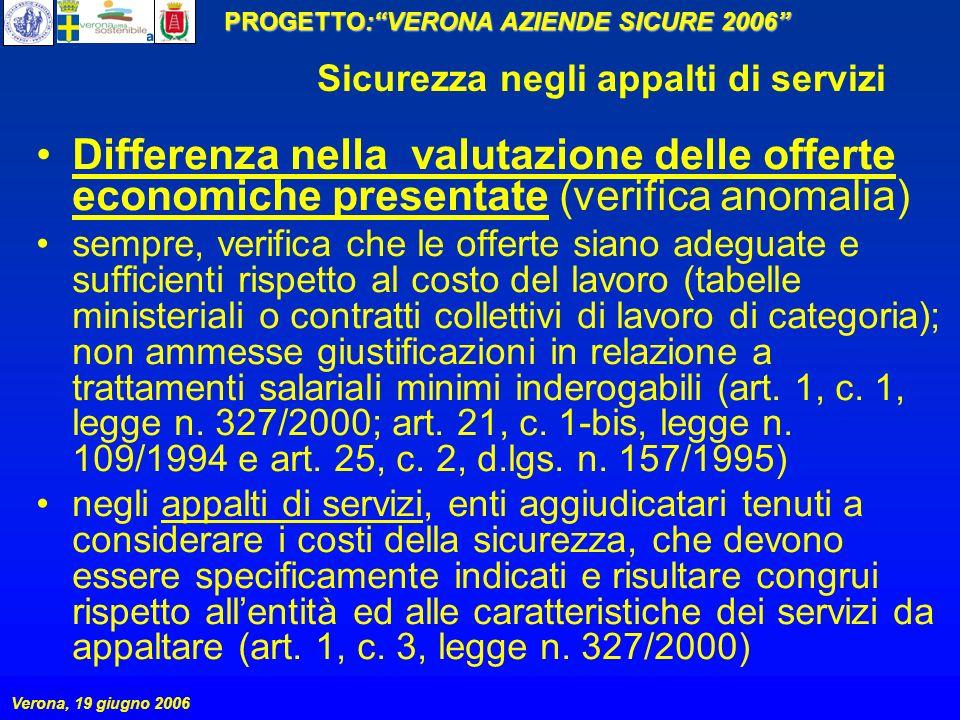 PROGETTO:VERONA AZIENDE SICURE 2006 Verona, 19 giugno 2006 Sicurezza negli appalti di servizi Differenza nella valutazione delle offerte economiche pr