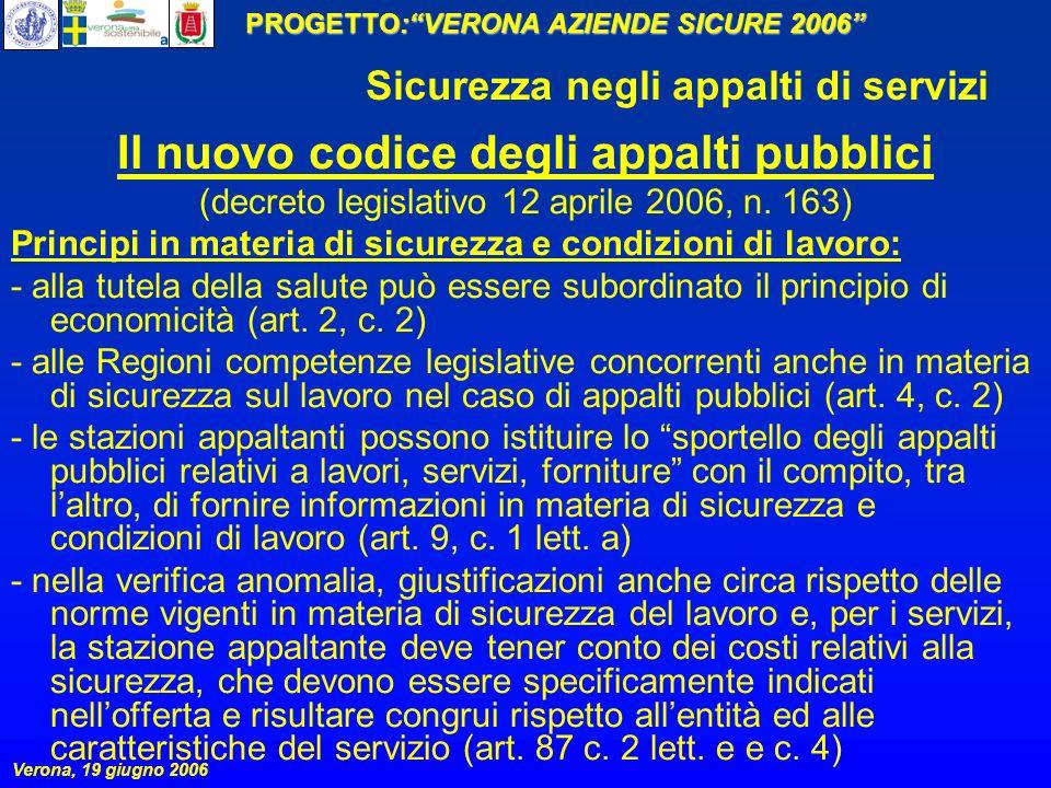 PROGETTO:VERONA AZIENDE SICURE 2006 Verona, 19 giugno 2006 Sicurezza negli appalti di servizi Il nuovo codice degli appalti pubblici (decreto legislat