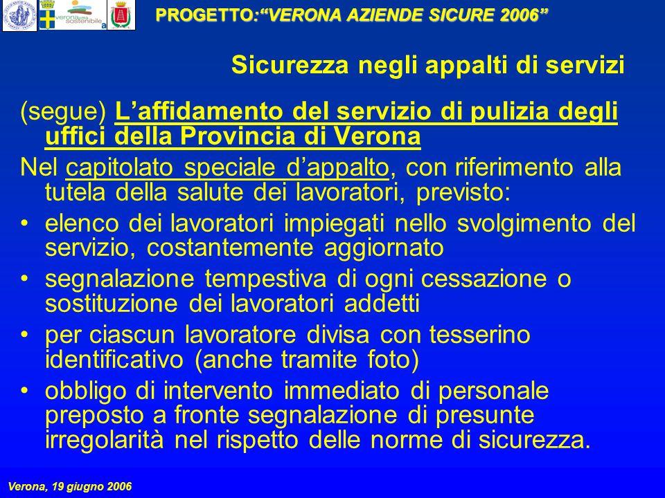 PROGETTO:VERONA AZIENDE SICURE 2006 Verona, 19 giugno 2006 Sicurezza negli appalti di servizi (segue) Laffidamento del servizio di pulizia degli uffic