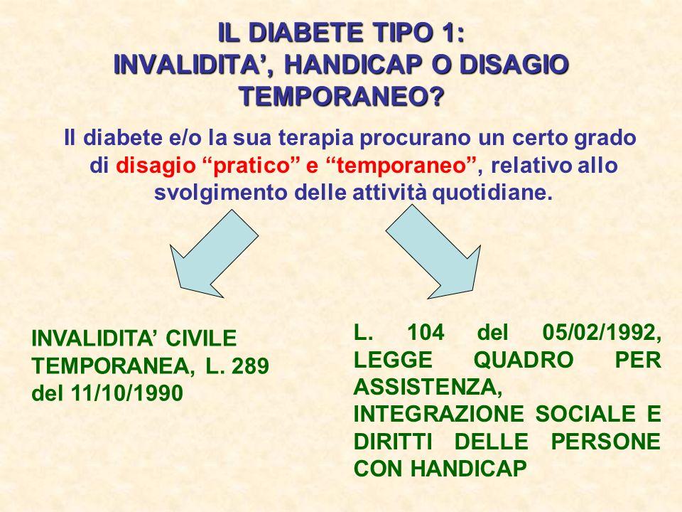 IL DIABETE TIPO 1: INVALIDITA, HANDICAP O DISAGIO TEMPORANEO? Il diabete e/o la sua terapia procurano un certo grado di disagio pratico e temporaneo,