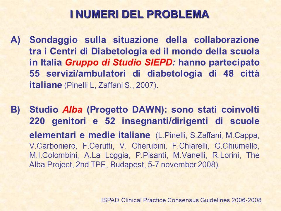 I NUMERI DEL PROBLEMA A)Sondaggio sulla situazione della collaborazione tra i Centri di Diabetologia ed il mondo della scuola in Italia Gruppo di Stud