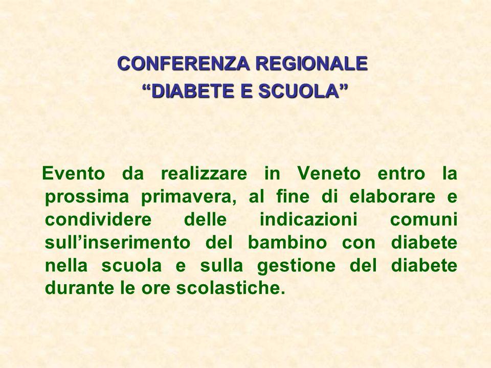CONFERENZA REGIONALE DIABETE E SCUOLA DIABETE E SCUOLA Evento da realizzare in Veneto entro la prossima primavera, al fine di elaborare e condividere