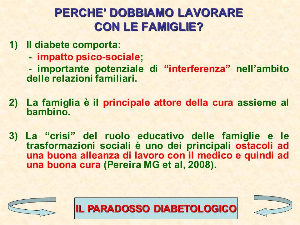 PERCHE DOBBIAMO LAVORARE CON LE FAMIGLIE? 1)Il diabete comporta: - impatto psico-sociale; - importante potenziale di interferenza nellambito delle rel