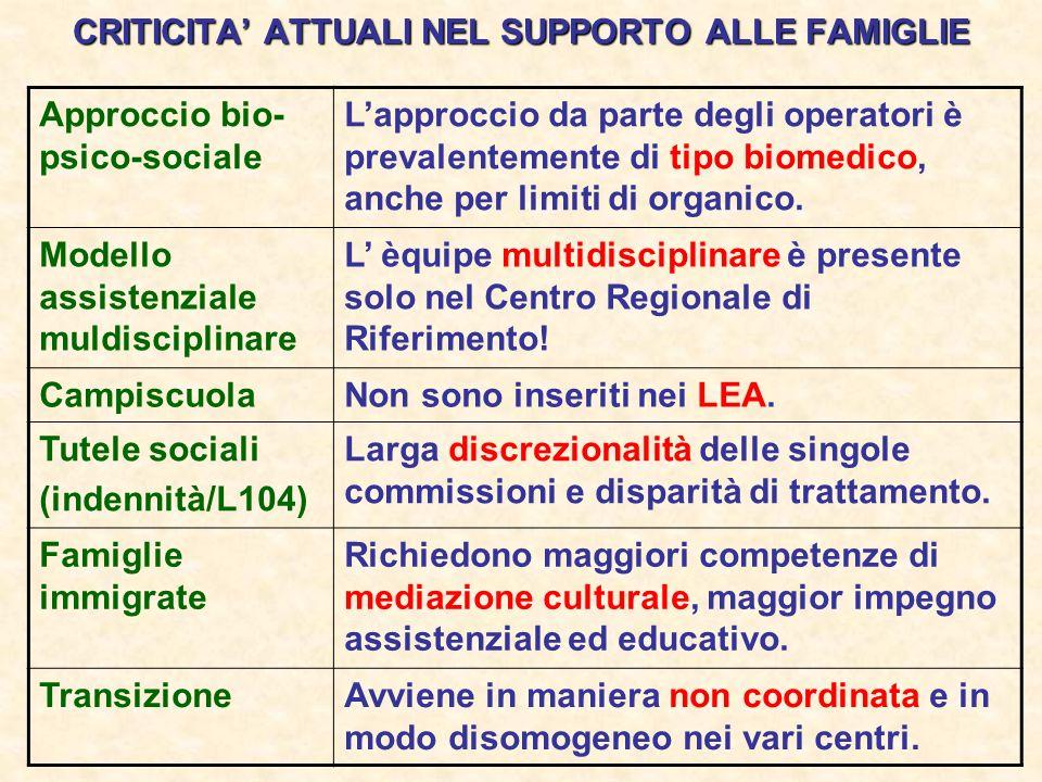 CRITICITA ATTUALI NEL SUPPORTO ALLE FAMIGLIE Approccio bio- psico-sociale Lapproccio da parte degli operatori è prevalentemente di tipo biomedico, anc