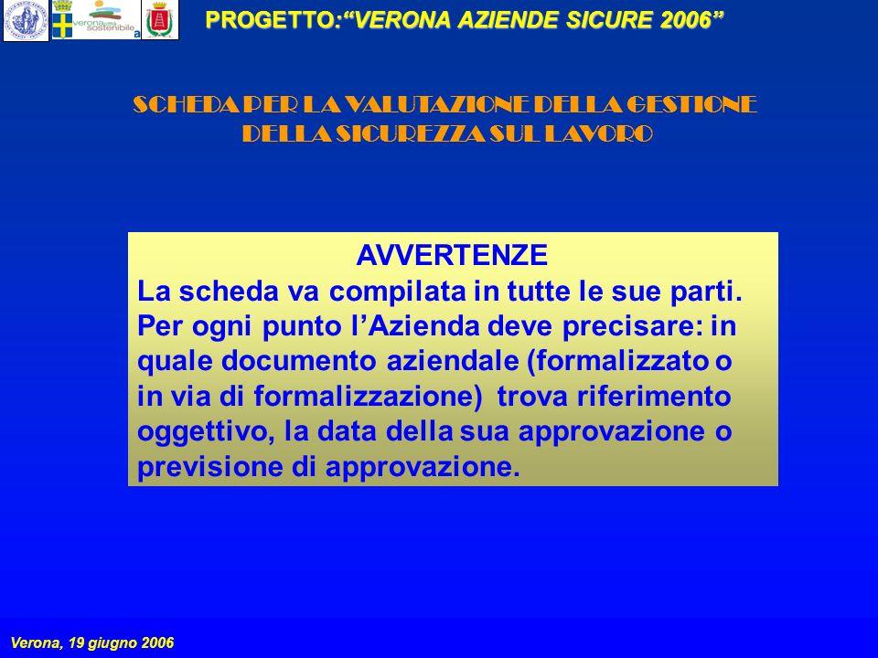 PROGETTO:VERONA AZIENDE SICURE 2006 Verona, 19 giugno 2006 SCHEDA PER LA VALUTAZIONE DELLA GESTIONE DELLA SICUREZZA SUL LAVORO AVVERTENZE La scheda va compilata in tutte le sue parti.