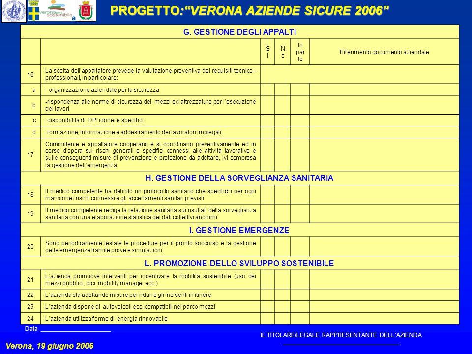 PROGETTO:VERONA AZIENDE SICURE 2006 Verona, 19 giugno 2006 G.