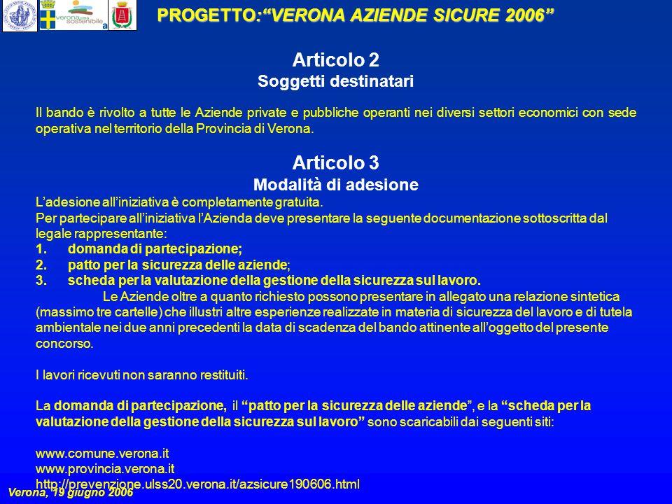 PROGETTO:VERONA AZIENDE SICURE 2006 Verona, 19 giugno 2006 Articolo 2 Soggetti destinatari Il bando è rivolto a tutte le Aziende private e pubbliche operanti nei diversi settori economici con sede operativa nel territorio della Provincia di Verona.