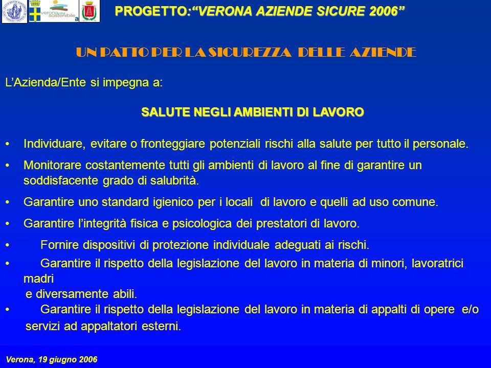 PROGETTO:VERONA AZIENDE SICURE 2006 Verona, 19 giugno 2006 UN PATTO PER LA SICUREZZA DELLE AZIENDE LAzienda/Ente si impegna a: SALUTE NEGLI AMBIENTI DI LAVORO Individuare, evitare o fronteggiare potenziali rischi alla salute per tutto il personale.