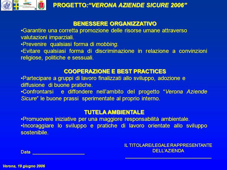 PROGETTO:VERONA AZIENDE SICURE 2006 Verona, 19 giugno 2006 BENESSERE ORGANIZZATIVO Garantire una corretta promozione delle risorse umane attraverso valutazioni imparziali.