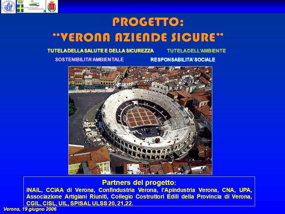PROGETTO:VERONA AZIENDE SICURE 2006 Verona, 19 giugno 2006 TUTELA DELLAMBIENTE RESPONSABILITA SOCIALE SOSTENIBILITA AMBIENTALE TUTELA DELLA SALUTE E DELLA SICUREZZA Partners del progetto : INAIL, CCIAA di Verona, Confindustria Verona, lApindustria Verona, CNA, UPA, Associazione Artigiani Riuniti, Collegio Costruttori Edili della Provincia di Verona, CGIL, CISL, UIL, SPISAL ULSS 20, 21,22.