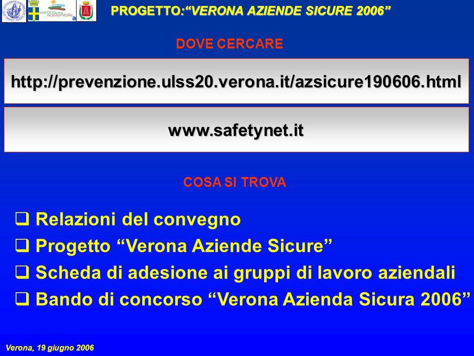PROGETTO:VERONA AZIENDE SICURE 2006 Verona, 19 giugno 2006 http://prevenzione.ulss20.verona.it/azsicure190606.html Relazioni del convegno Progetto Verona Aziende Sicure Scheda di adesione ai gruppi di lavoro aziendali Bando di concorso Verona Azienda Sicura 2006 www.safetynet.it DOVE CERCARE COSA SI TROVA