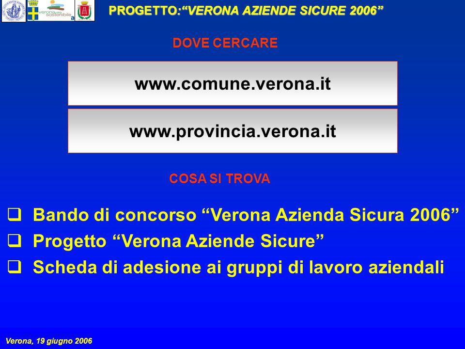 PROGETTO:VERONA AZIENDE SICURE 2006 Verona, 19 giugno 2006 www.comune.verona.it Bando di concorso Verona Azienda Sicura 2006 Progetto Verona Aziende S