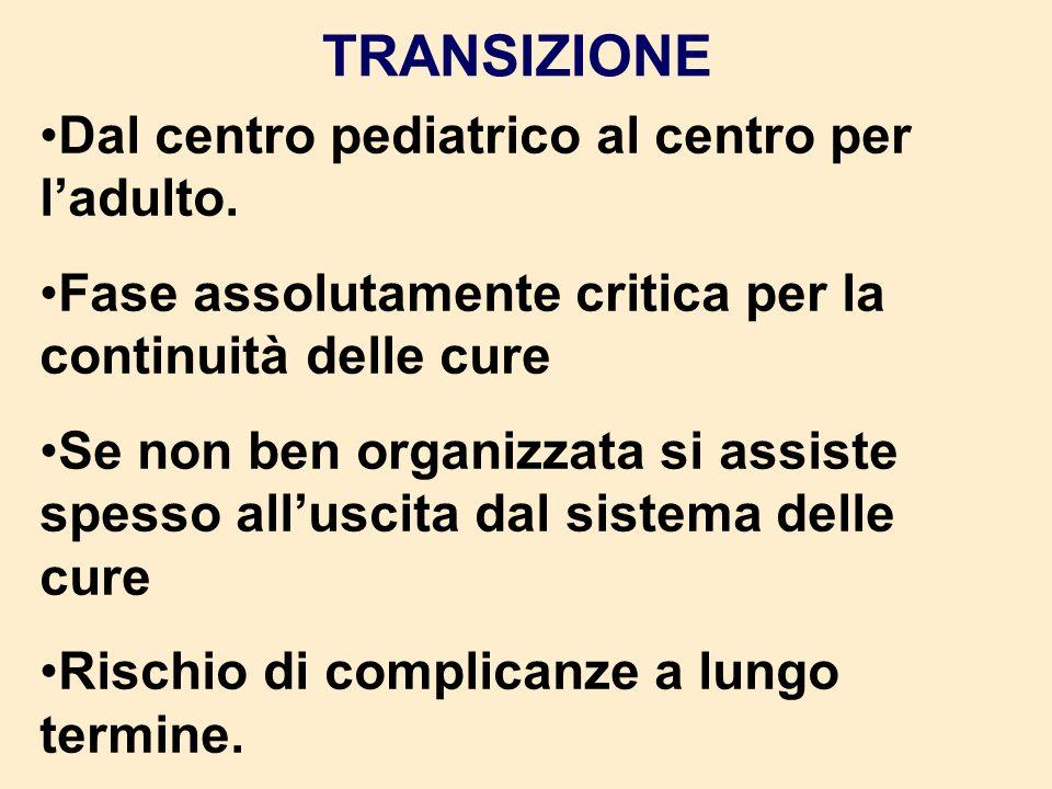 TRANSIZIONE Dal centro pediatrico al centro per ladulto. Fase assolutamente critica per la continuità delle cure Se non ben organizzata si assiste spe