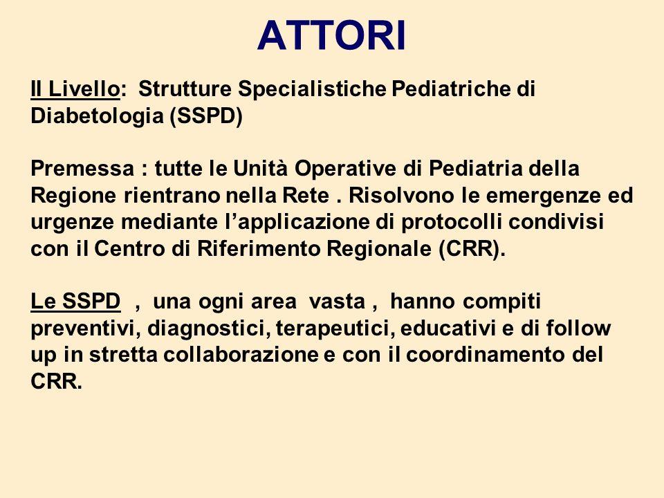 ATTORI II Livello: Strutture Specialistiche Pediatriche di Diabetologia (SSPD) Premessa : tutte le Unità Operative di Pediatria della Regione rientran