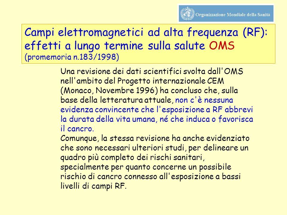 Campi elettromagnetici ad alta frequenza (RF): effetti a lungo termine sulla salute OMS (promemoria n.183/1998) Una revisione dei dati scientifici svo