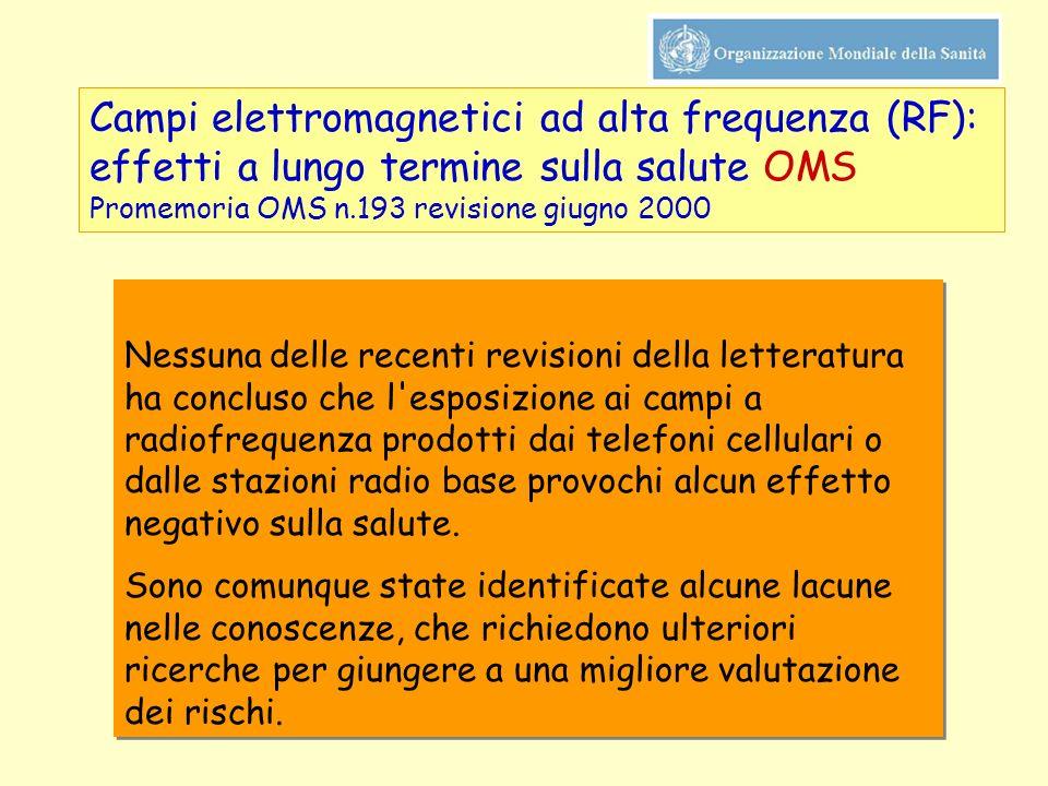 Campi elettromagnetici ad alta frequenza (RF): effetti a lungo termine sulla salute OMS Promemoria OMS n.193 revisione giugno 2000 Nessuna delle recen