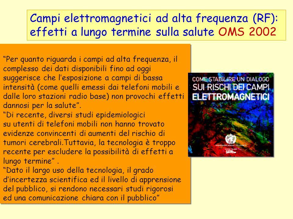 Campi elettromagnetici ad alta frequenza (RF): effetti a lungo termine sulla salute OMS 2002 Per quanto riguarda i campi ad alta frequenza, il comples