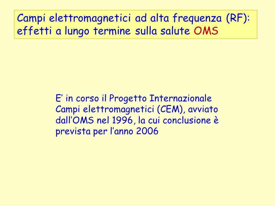 Campi elettromagnetici ad alta frequenza (RF): effetti a lungo termine sulla salute OMS E in corso il Progetto Internazionale Campi elettromagnetici (