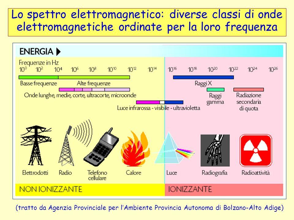Lo spettro elettromagnetico: diverse classi di onde elettromagnetiche ordinate per la loro frequenza (tratto da Agenzia Provinciale per lAmbiente Prov