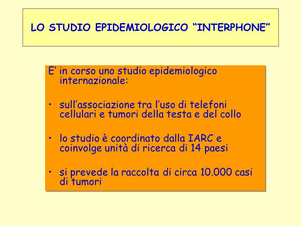 LO STUDIO EPIDEMIOLOGICO INTERPHONE E in corso uno studio epidemiologico internazionale: sullassociazione tra luso di telefoni cellulari e tumori dell
