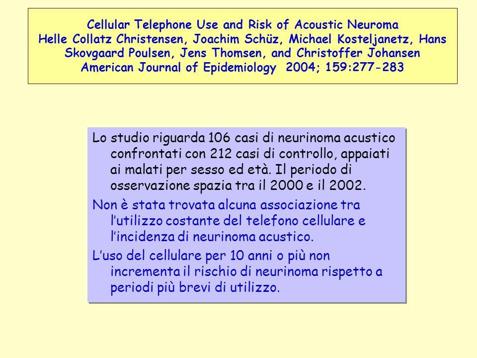 Lo studio riguarda 106 casi di neurinoma acustico confrontati con 212 casi di controllo, appaiati ai malati per sesso ed età. Il periodo di osservazio