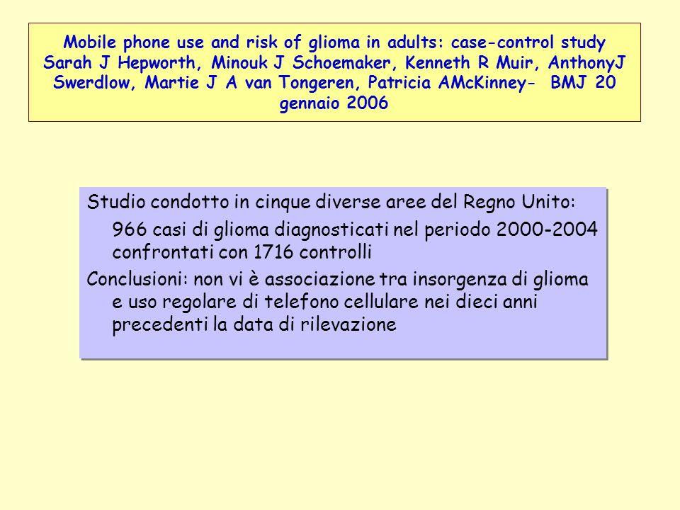 Studio condotto in cinque diverse aree del Regno Unito: 966 casi di glioma diagnosticati nel periodo 2000-2004 confrontati con 1716 controlli Conclusi