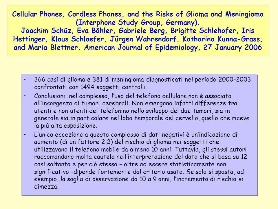 366 casi di glioma e 381 di meningioma diagnosticati nel periodo 2000-2003 confrontati con 1494 soggetti controlli Conclusioni: nel complesso, luso de