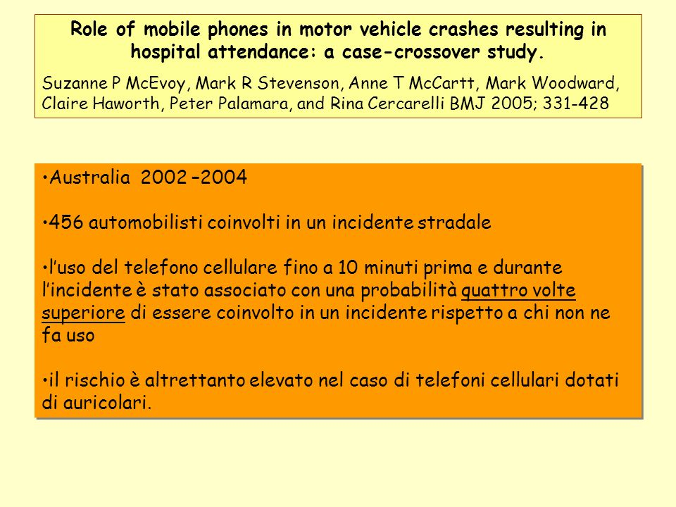 Role of mobile phones in motor vehicle crashes resulting in hospital attendance: a case-crossover study. Suzanne P McEvoy, Mark R Stevenson, Anne T Mc