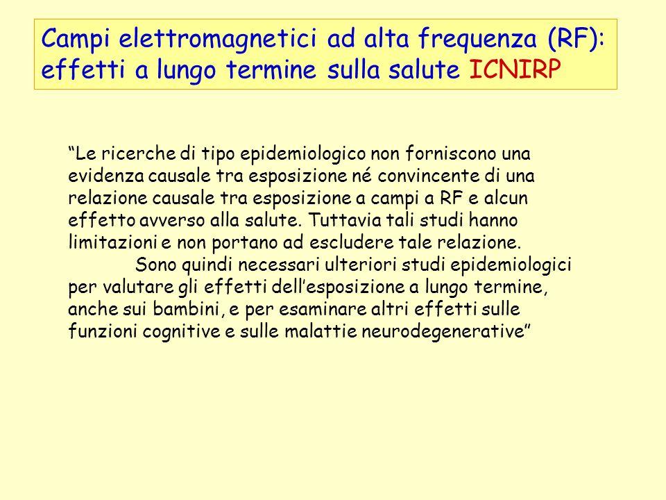 Campi elettromagnetici ad alta frequenza (RF): effetti a lungo termine sulla salute ICNIRP Le ricerche di tipo epidemiologico non forniscono una evide