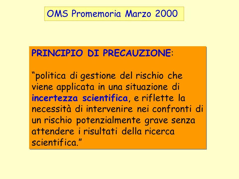 OMS Promemoria Marzo 2000 PRINCIPIO DI PRECAUZIONE: politica di gestione del rischio che viene applicata in una situazione di incertezza scientifica,
