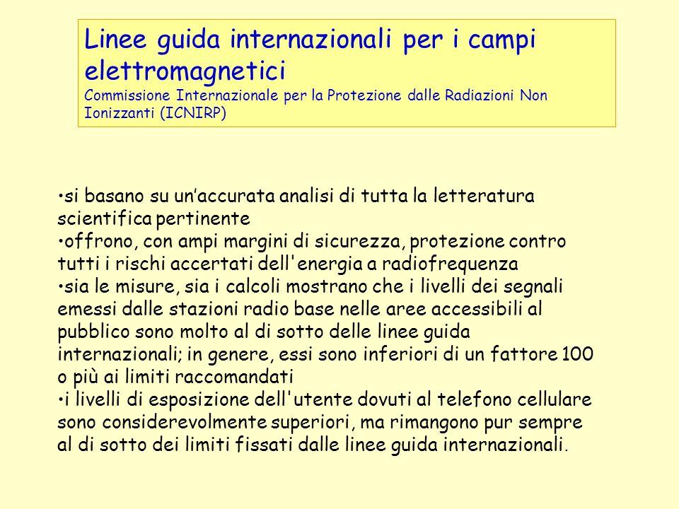 Linee guida internazionali per i campi elettromagnetici Commissione Internazionale per la Protezione dalle Radiazioni Non Ionizzanti (ICNIRP) si basan